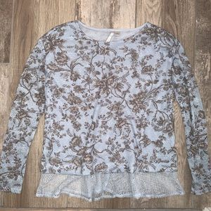LC LAUREN CONRAD Blue Floral Knit Lace Top Small